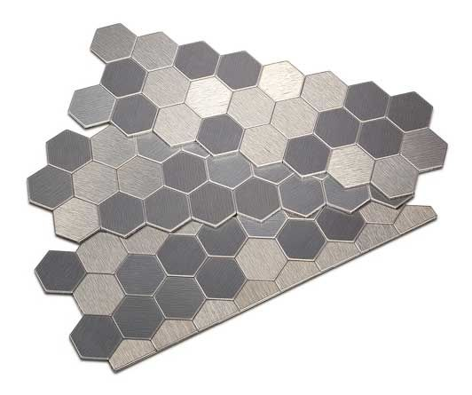 Peel And Stick Honeycomb Style Metal Tiles In Carbon