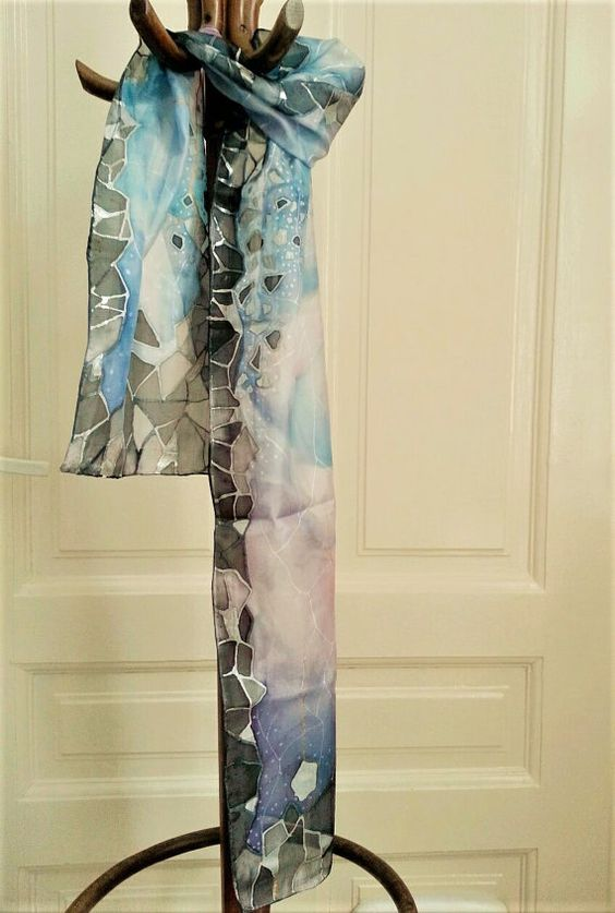 Magical blue/lilac silk scarf handmade by SaraRaArtGallery on Etsy