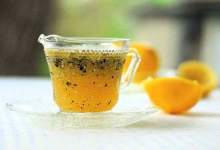 honey lemon poppyseed vinaigrette ~ the perfect accompaniment to wild grilled Alaskan salmon and baby greens...also fantastic as a dipping oil for fresh baguette!