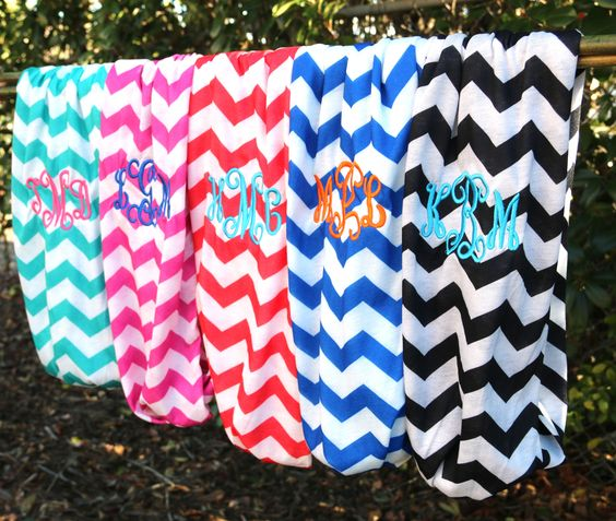 GET it @ www.initialoutfitters.net/lynettejeffres Monogrammed chevron infinity scarves from Initial Outfitters $22