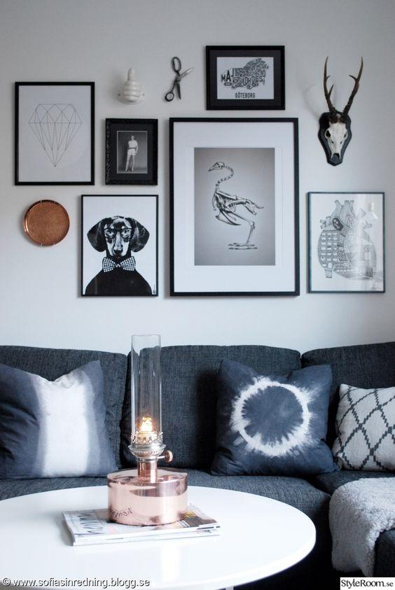 tavelvägg,soffa,kuddar | Homie | Pinterest : soffor kuddar : Inredning