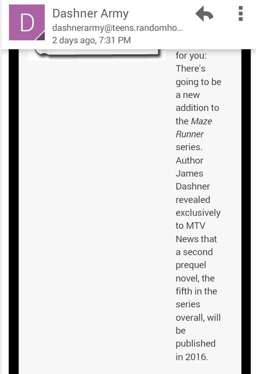 IMPORTANT****** THERE'S GOING TO BE ANOTHER PREQUEL FOR THE MAZE RUNNER. IT COMES OUT IN 2016.