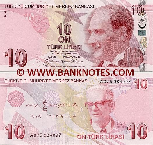 "Turkey 10 Lira 2009   Obverse: Effigy of President Mustafa Kemal Atatürk (1881-1938); The crescent moon and star from Turkish flag. Reverse: Portrait of Ord. Prof. Dr. Cahit Arf (1910-1997); Mathematical motifs consisting of a section of Cahit Arf's ""Arf Invariant"" as well as arithmetical progressions, an abacus, numbers and figures that represent the binary system, which is the basis of computer technology. Watermark: Head of Mustafa Kemal Atatürk in profile; 10."