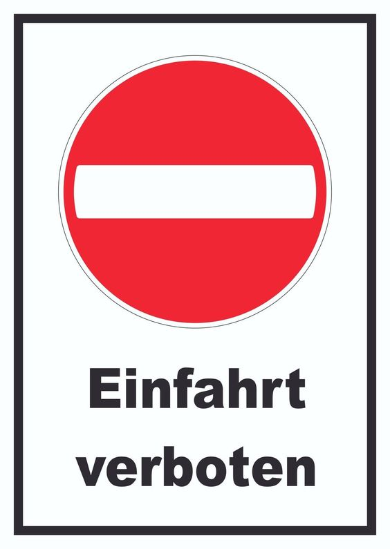 schild einfahrt verboten verbot schild verkehr kfz. Black Bedroom Furniture Sets. Home Design Ideas