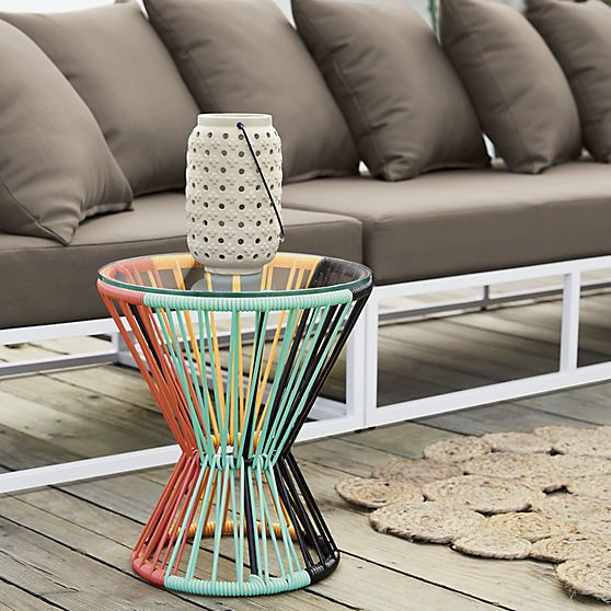 Tulum Side Table. Retro resort styling marches to a fresh beat in this hourglass side table design, inspired by the form and weave of ancient Mayan drums.