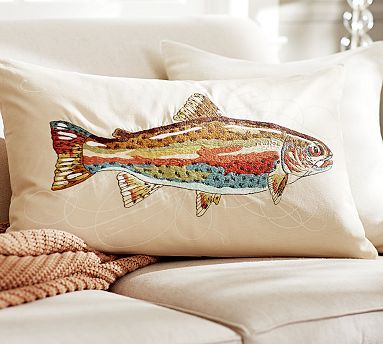 Trout Embroidered Pillow Covers #potterybarn ... For my cabin on the lake.