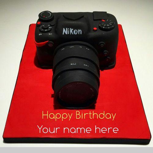Stupendous Write Name On Nikon Camera Birthday Cake Birthday Cake For Personalised Birthday Cards Sponlily Jamesorg