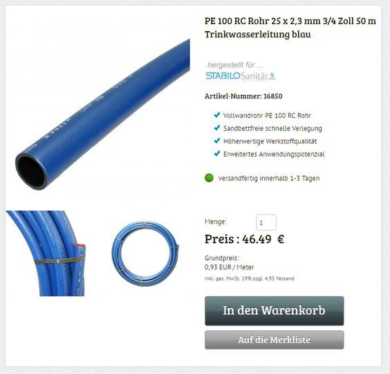 PE 100 RC Rohr 3/4 Zoll 25 x 2,3 mm 50 m flexible Druckrohr Wasserrohr Erdrohr Kunststoffrohre