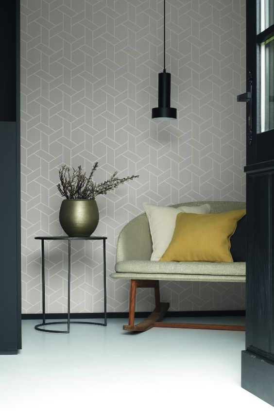 Focale by Casadeco is a calming geometric wallpaper design shown here in light grey.