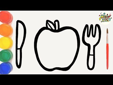 Learn Color With Apple Culterly Set Drawing And Painting For Kids Happy Kids Youtube Painting For Kids Learning Colors Happy Kids