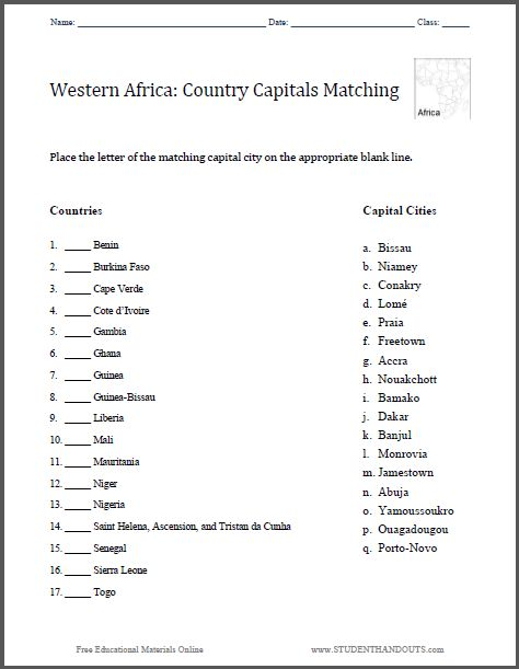 Printables States And Capitals Matching Worksheet west african capitals matching worksheet free to print pdf file grades 4