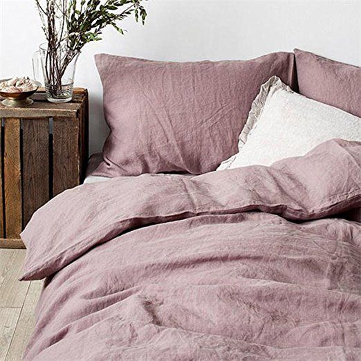 Lausonhouse 100 Linen Duvet Cover Set King Mauve Bed Linen Sets Washed Linen Duvet Cover Mauve Bedding