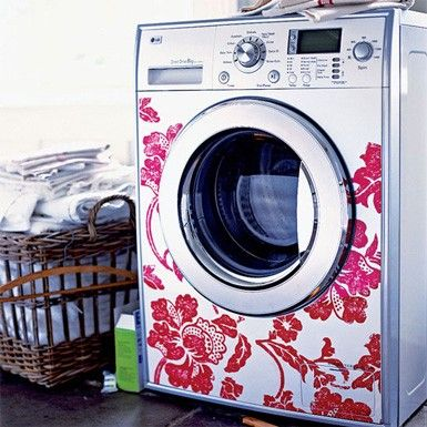 Decorate your washer and dryer with vinyl decals to brighten up your laundry room!