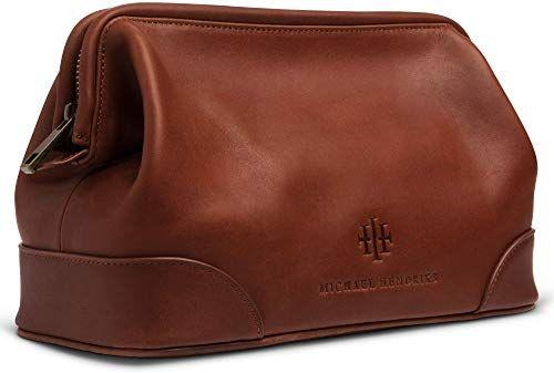 Black Leather Mens Toiletry Bag Shaving Kit Overnight Travel Duffel New