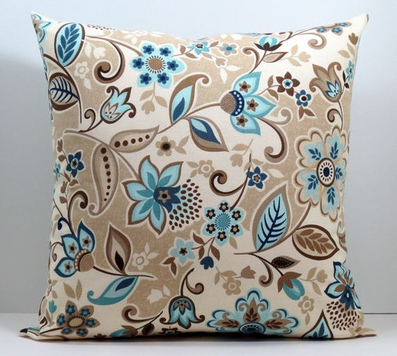 Blue Brown Green Throw Pillows : Beige Blue Brown and Cream Lacey Floral decorative throw pillow cover 18 x18 inches Accent ...