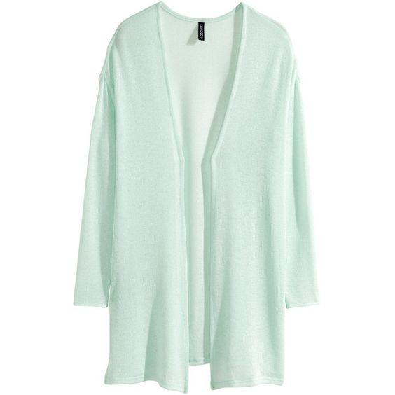 H&M Fine-knit cardigan (16 CAD) ❤ liked on Polyvore featuring tops, cardigans, sweaters, mint green, green top, loose fitting tops, loose cardigan, long sleeve cardigan and loose fit tops