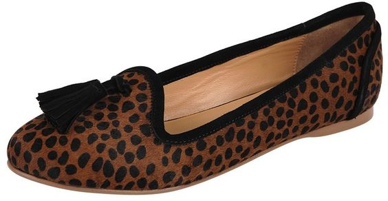 $198, Brown Leopard Suede Tassel Loafers: SimplySoles Gayle. Sold by Simply Soles. Click for more info: https://lookastic.com/women/shop_items/129582/redirect