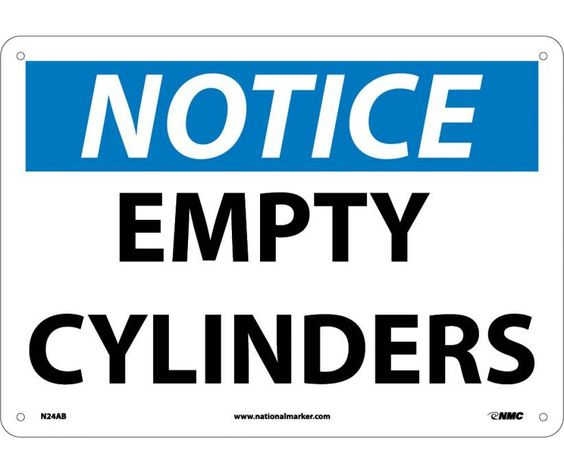 Notice, EMPTY CYLINDERS, 10X14, .040 Aluminum
