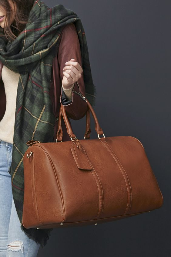 Brown oversized vegan weekender bag | Sole Society Lacie: