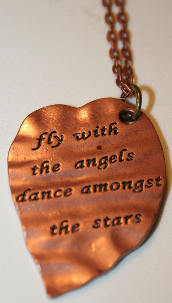 Copper Heart Necklace fly with the angels  dance by SageBeauties, $22.00