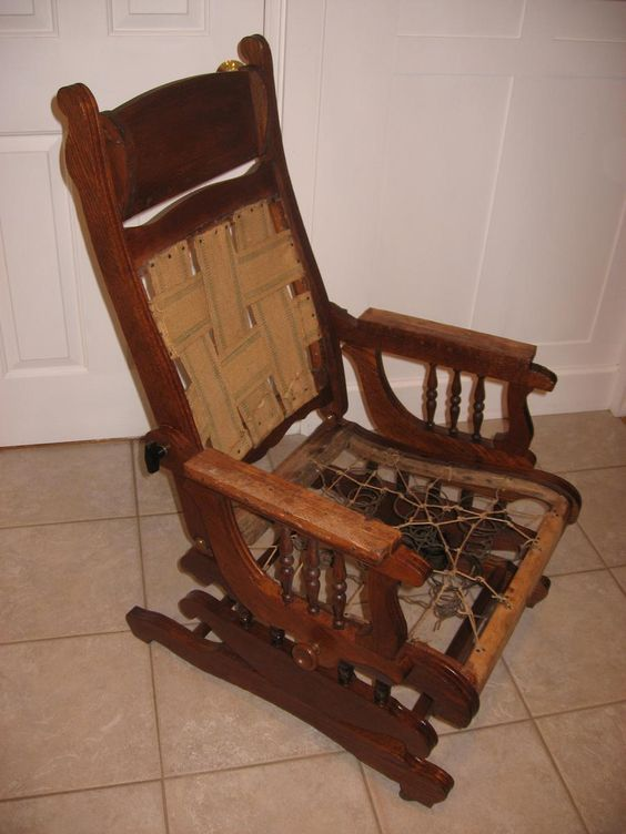 Refinished Oak Rocker Recliner