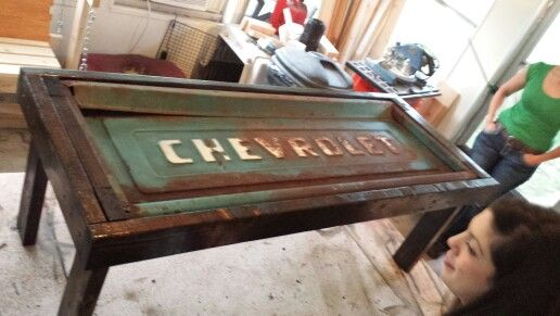 50s Chevy tailgate coffee table Tailgate bench Pinterest