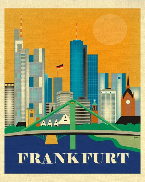 Frankfurt wall art is available in an array of finishes, materials, and sizes, this retro inspired art print will make Frankfurt feel close to your heart with its bright color palette and unique desig