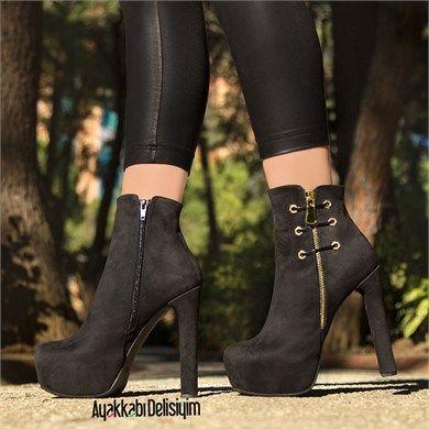 Sanvel Siyah Suet Kalin Topuklu Bot Topuklular Bayan Ayakkabi Bot