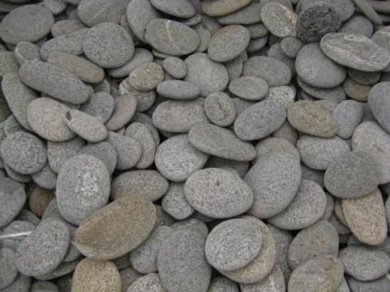 Small flats beach stones and landscapes on pinterest for Grey stones for landscaping