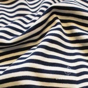 Bio Stretch Jersey fabric - narrow striped - Offweiss / Navy