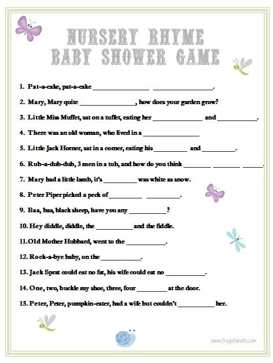 Baby Shower Games: Nursery Rhyme | Baby Shower Games, Frugal And Nursery