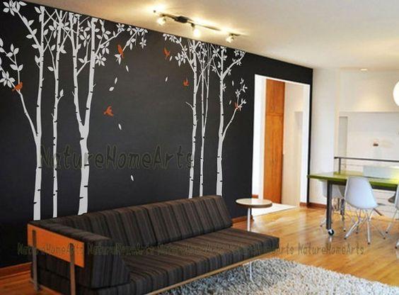 Stickers d 39 arbre bouleau 6 bouleau blanc arbre muraux for Autocollant mural arbre