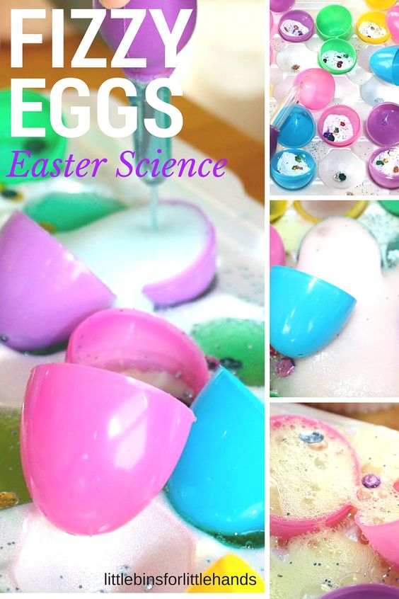 Easter baking soda science with fizzy plastic eggs activity. Fun Easter activity and simple science experiment for toddlers, preschool, and kindergarten age kids. Great way to use plastic eggs for activities this Easter. Kitchen science for kids!