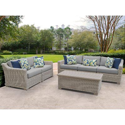 Rosecliff Heights Claire 4 Piece Sofa Seating Group With Cushions Cushion Color Gray Outdoor Wicker Patio Furniture Wicker Patio Furniture Patio Furniture Sets