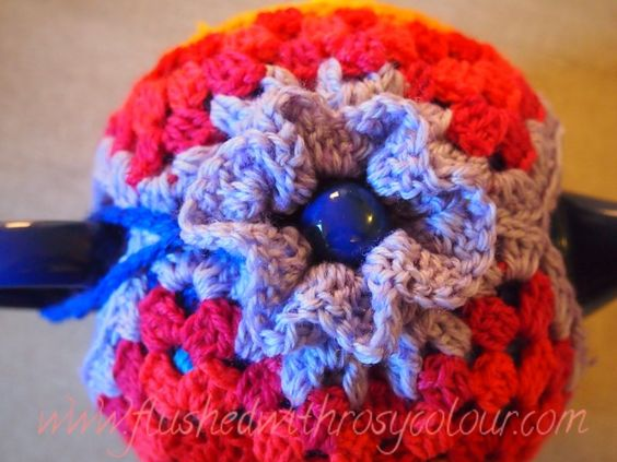 top flower detail of two way tea cosy design by Flushed with Rosy Colour