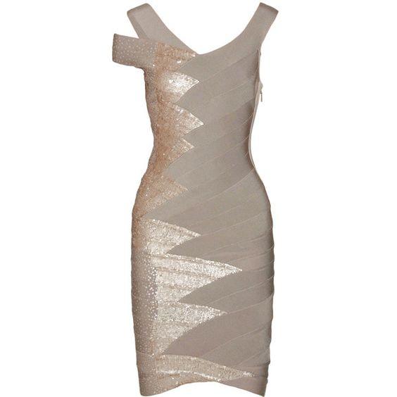 Hervé Léger Sequin-Embellished Bandage Dress ($2,200) ❤ liked on Polyvore featuring dresses, vestidos, short dresses, cocktail dresses, women, brown sequin dress, mini dress, asymmetrical hem dress and bandage dress