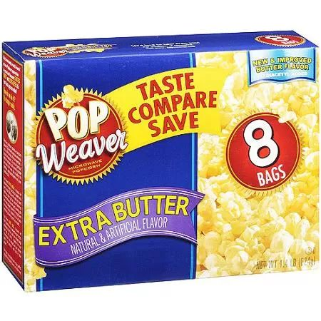 Pop Weaver Extra Butter Microwave Popcorn, 8 pk