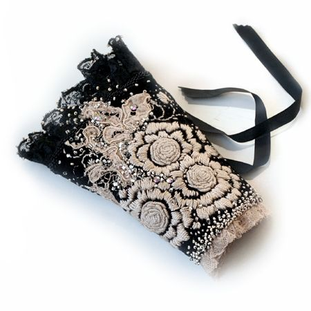 Boticca.com :: My Fair Lady by Krista R    This beautiful elegant limited edition cuff is made from black velvet, ecru antique lace and Victorian mourning lace ruffle. Adorned with fine hand embroidered floral design, vintage lace, Swarovski crystals and rich hand beaded accents. Cuff has hand sewn lining from soft black silk, closes with black satin ribbon tie.