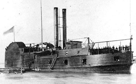 """USS Conestoga, photographed during the Civil War History Name: USS Conestoga Namesake: Conestoga wagon Fate: Sunk, 1864 General characteristics Displacement: 572 ton Propulsion: Side wheeled steamer USS Conestoga was originally a civilian side-wheel towboat built at Brownsville, Pennsylvania, in 1859. She was acquired by the U.S. Army in June 1861 and converted to a 572 ton """"timberclad"""" river gunboat for use by the Western Gunboat Flotilla, with officers provided by the navy.:"""