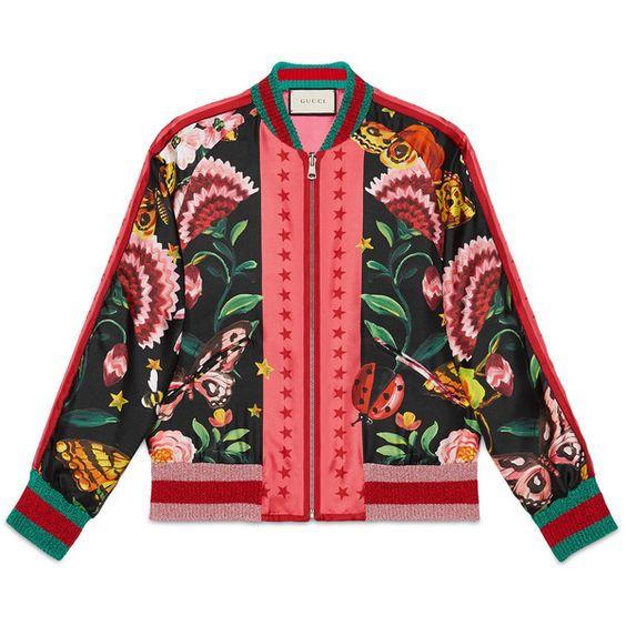 Gucci Gucci Garden Reversible Silk Bomber (£1,630) ❤ liked on Polyvore featuring outerwear, jackets, ready to wear, women, print bomber jacket, zip bomber jacket, silk jacket, flight jacket and zipper jacket