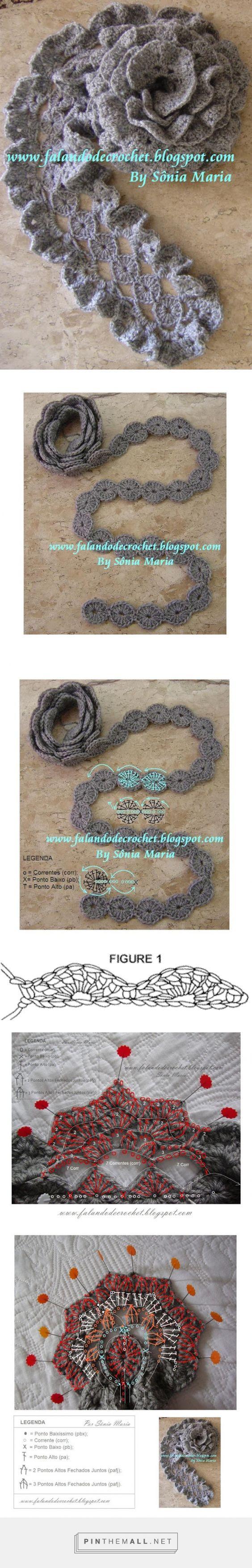 FALANDO DE CROCHET: CACHECOL DE CROCHE GRAFITE (Crocheted Scarf) (Bufanda de…