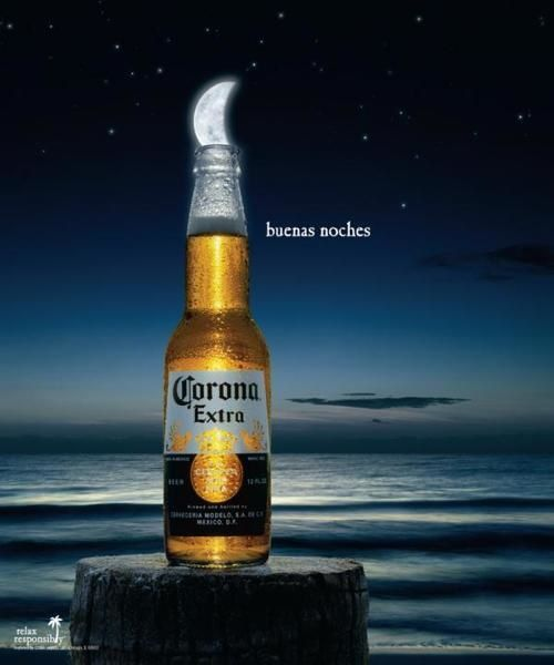 Corona Beer Buenas Noches Ad Work Within The Media Category Print Ad Was Released In Mar 2008 For Beer Advertising Beer Commercials Beer Ad