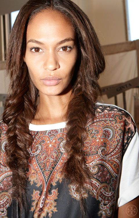 Joan Smalls backstage at Tory Burch Spring 2013