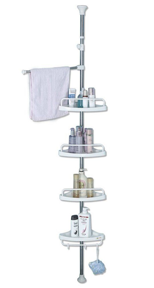 Baoyouni Bathroom Shower Corner Caddy Tension Pole 4 Tier Bathtub Space Saving Storage Rack Organizer Bathroom Shower Corner Shower Caddy Space Saving Storage