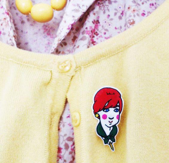 Joan from Mad Men Shrink Plastic Brooch by Rose Hudson