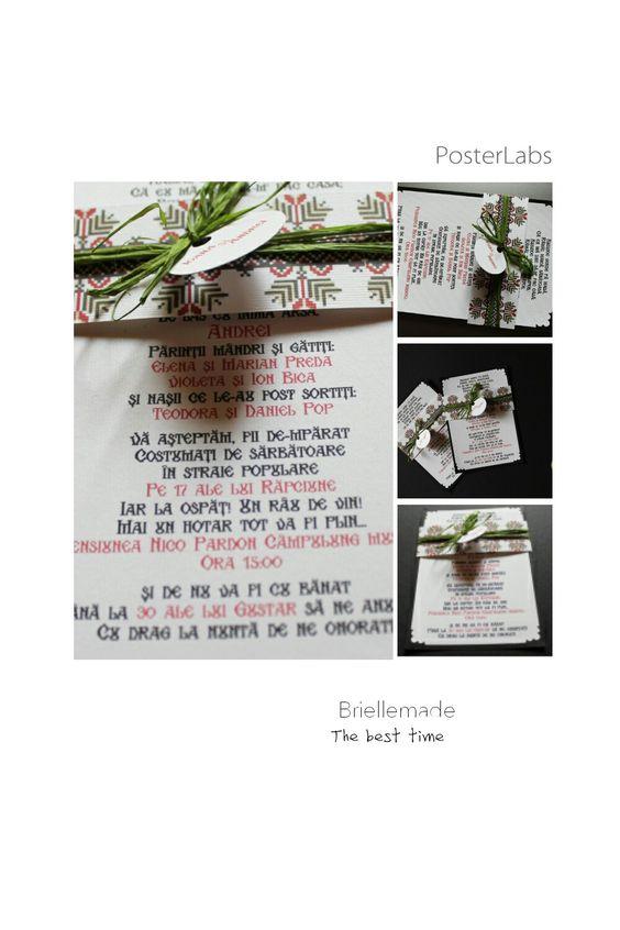 Descopera #invitatii #nunta #botez #handmade #carduri #marturii #cununie @briellemade  Invitatii de nunta – Ioana&Andrei  Anul acesta a fost cu siguranta anul nuntilor traditionale romanesti. Detaliile unei astfel de nunti te vrajesc pur si simplu.  Ioana si Andrei au avut o nunta superba, la care #Briellemade a contribuit cu aceste invitatii cu motive traditionale din zona Muscelului.  Casa de piatra, dragilor!