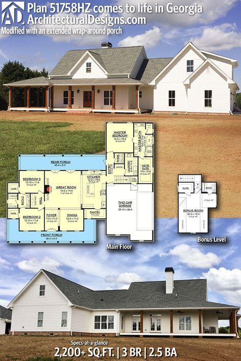 Plan 51758hz Three Bed Farmhouse With Optional Bonus Room New House Plans Farmhouse Floor Plans Ranch House Plans