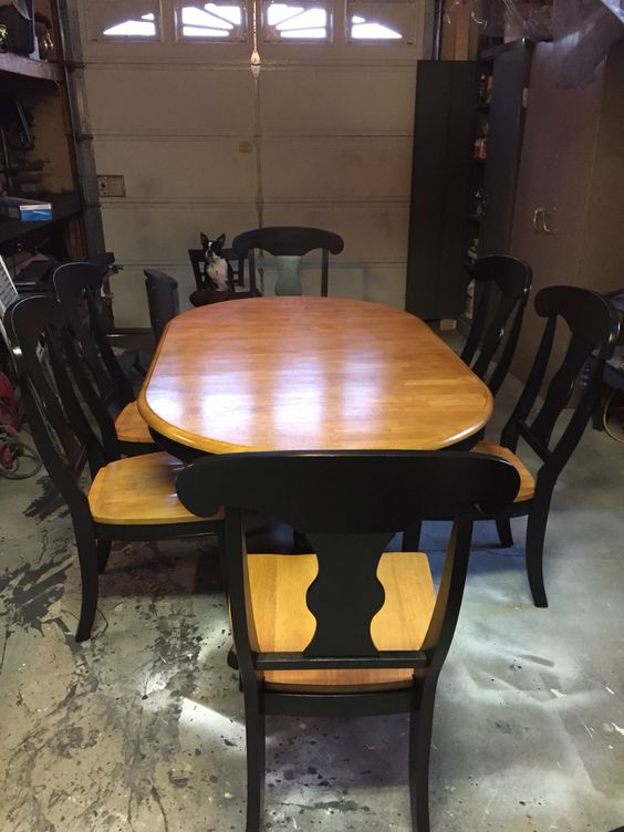Table and chairs refinished in sherwin Williams black magic paint and converted to chalk paint. Poly coated with Minwax water based.