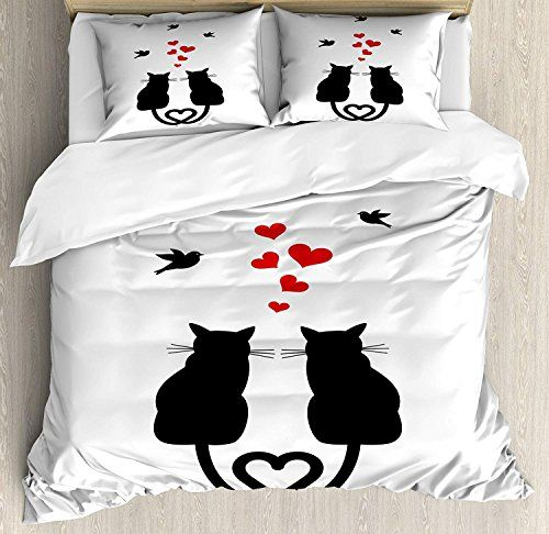 Vcfun Family Comfort Bed Sheet Love Cats In Love With Heartd Tails Birds Animal Silhouettes Valentines Th Duvet Cover Sets Valentines Pillows Full Bedding Sets