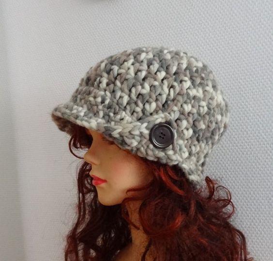 Women's crochet hat with buttons women hat Crochet by Ifonka